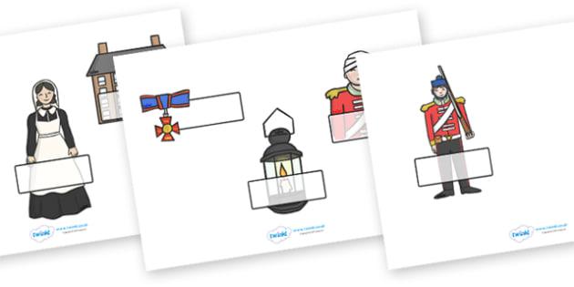 Editable Self Registration Labels (Florence Nightingale) -  Self registration, register, editable, labels, registration, child name label, printable labels,florence nightingale, victorians, hygiene, hospital