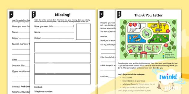 Animals: Dear Zoo Y1 Home Learning Tasks To Support Teaching on 'Dear Zoo' - Stories with repeating parts, mini topic, safari, whole class guided reading, minibeasts