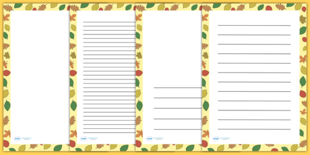 Fall Leaves Page Borders - writing templates, writing border, fall
