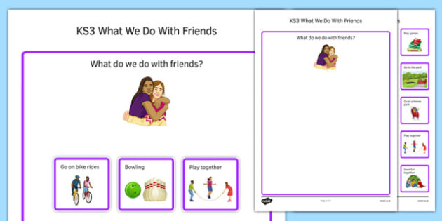 KS3 What We Do With Friends Cut and Stick Activity - ks3, what we do, friends, cut, stick, activity