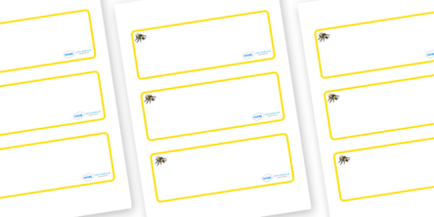 Busy Bee Themed Editable Drawer-Peg-Name Labels (Blank) - Themed Classroom Label Templates, Resource Labels, Name Labels, Editable Labels, Drawer Labels, Coat Peg Labels, Peg Label, KS1 Labels, Foundation Labels, Foundation Stage Labels, Teaching Lab