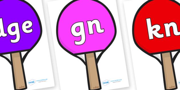 Silent Letters on Table Tennis Bats - Silent Letters, silent letter, letter blend, consonant, consonants, digraph, trigraph, A-Z letters, literacy, alphabet, letters, alternative sounds