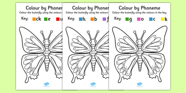 Colour by Phoneme Butterfly Phase 2 Activity Pack - colour, phoneme, butterfly, phase 2, activity, pack