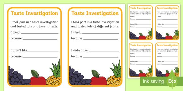 Taste Investigation Card - taste, investigation, card, investigate
