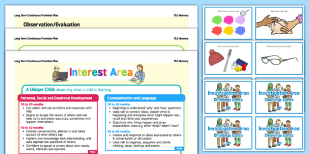 Interest Area  Continuous Provision Plan Poster and Challenge Cards Pack Nursery FS1