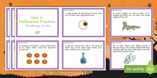Year 4 Halloween Fractions Challenge Cards