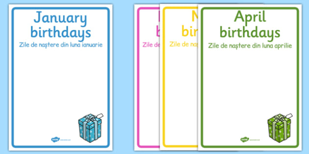 Editable Birthday Display Posters Romanian Translation - romanian, Birthday, birthday poster, birthday display, months of the year, cake, balloons, happy birthday