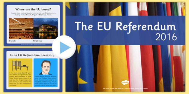 EU Referendum PowerPoint Presentation - EU, referendum , vote, ballot, Thursday 23rd June 2016, European Union, pros, cons
