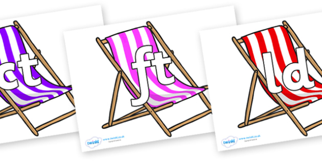 Final Letter Blends on Deck Chairs - Final Letters, final letter, letter blend, letter blends, consonant, consonants, digraph, trigraph, literacy, alphabet, letters, foundation stage literacy