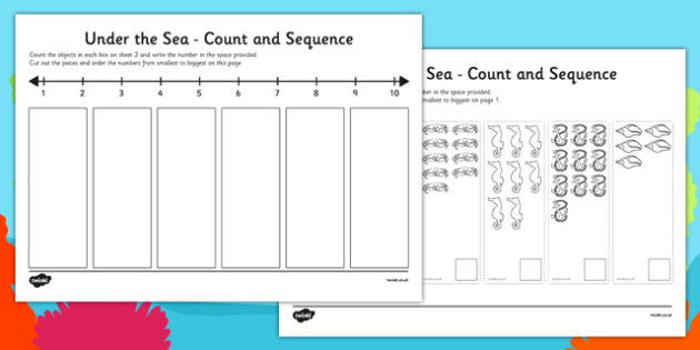 Under the Sea Themed 1-10 Count and Sequence Cut and Stick Activity - under the sea, count, sequence, cut out, stick, activity