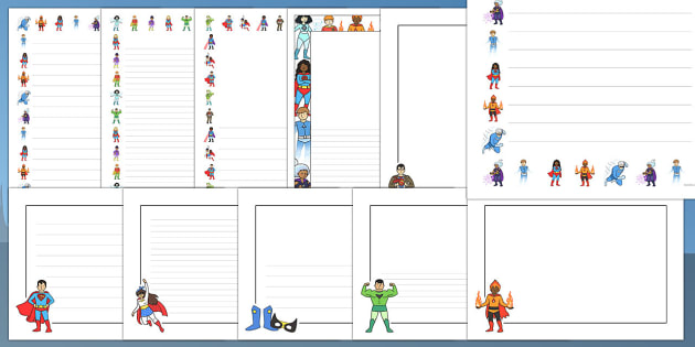 Editable Superhero Page Borders Pack - editable, superhero, borders