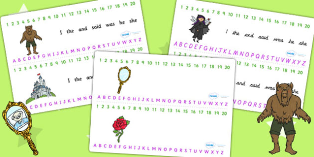 Beauty and the Beast Combined Number and Alphabet Strips - a-z