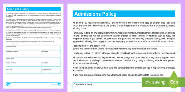 Admission Policy for Childminders - childminders, admission