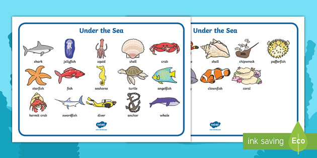 Under the Sea Word Mat - Under the sea, writing aid, sea, seaside, water, tide, fish, sea creatures, shark, whale, marine, dolphin, starfish, waves, sand