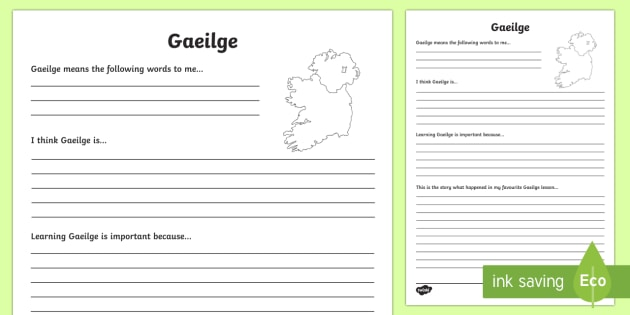 Gaeilge Reflection Writing Template - writing template, subject, self assessment, feelings, Gaeilge, Irish, languages, core subject