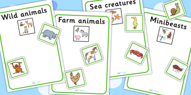 Sea Creatures Farm Animals Wild Animals Minibeasts Sort Activity