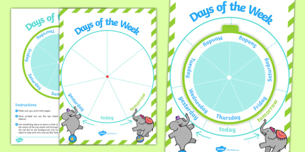 Days of the Week Sequencing Spin Wheel - days, week, spin, wheel