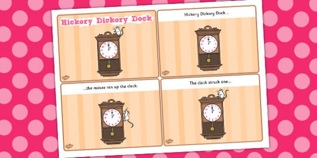 Hickory Dickory Dock Sequencing (4 per A4) - Hickory Dickory Dock, nursery rhyme, sequencing, rhyme, rhyming, nursery rhyme story, nursery rhymes, Hickory Dickory Dock resources, clock, mouse