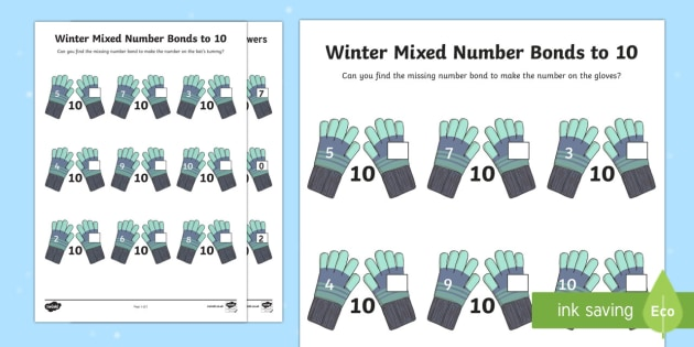 Winter Themed Mixed Number Bonds to 10 Activity Sheet