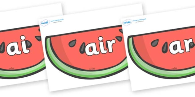 Phase 3 Phonemes on Watermelons to Support Teaching on The Very Hungry Caterpillar - Phonemes, phoneme, Phase 3, Phase three, Foundation, Literacy, Letters and Sounds, DfES, display
