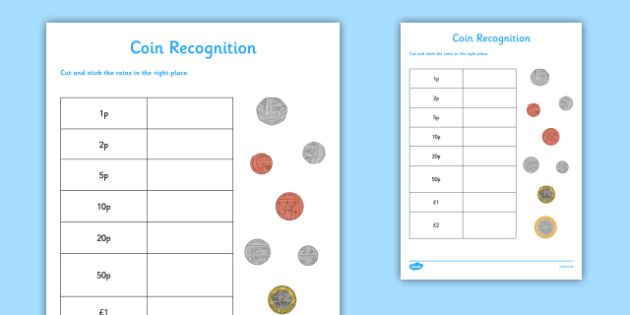 Coin Recognition Activity Sheet - CfE, numeracy, money, coin recognition, scottish, curriculum, early, maths, assess, assessment, excellence, scotland, worksheet