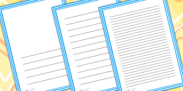 Blue And White Stripes Page Borders - writing templates, border