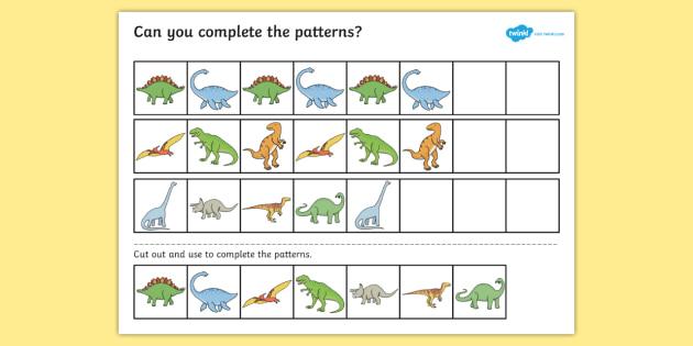 Dinosaur Complete the Pattern Activity Sheet - dinosaurs, patterns