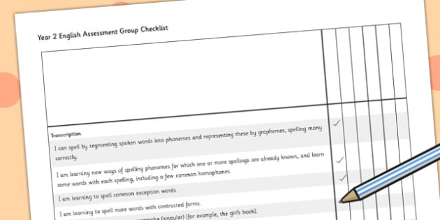 2014 Curriculum Year 2 English Assessment Group Checklist - target