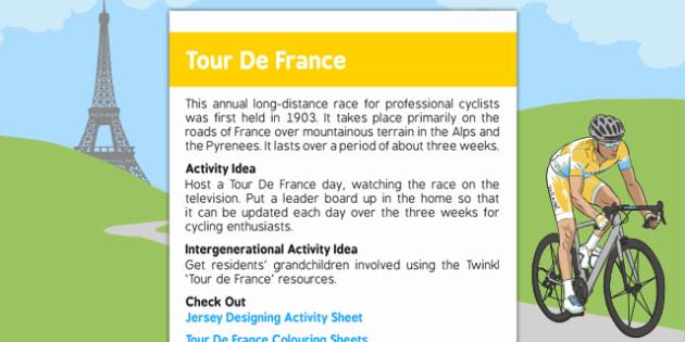 Elderly Care Calendar Planning June 2016 Tour De France - Elderly Care, Calendar Planning, Care Homes, Activity Co-ordinators, Support, June 2016