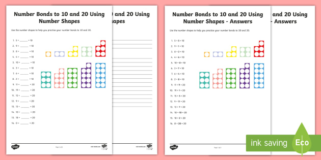 Number Bonds to 10 and 20 Using Number Shapes Activity Sheet - Numbers With Number Shapes 0-20 Display - numbers, number shapes, 0-20, display,numbes,nubers,shpes,