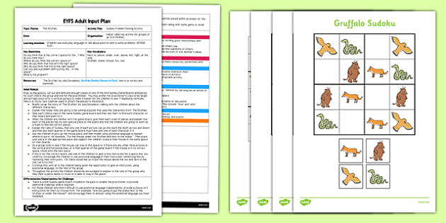 Sudoku Problem Solving Activity to Support Teaching on The Gruffalo EYFS Adult Input Plan and Resource Pack - puzzle, activity, missing, thinking