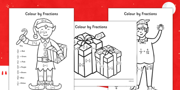 Colour by Adding Fractions Christmas Elf - colour, adding, fractions, christmas elf, christmas, elf