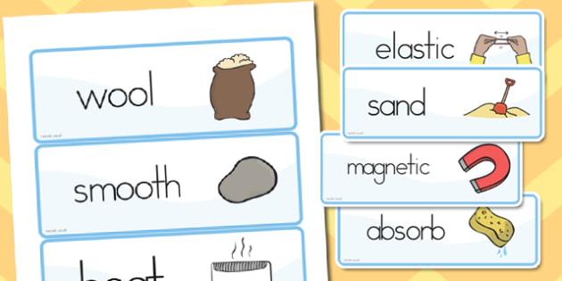 Materials Vocab Cards - australia, materials, vocabulary, cards