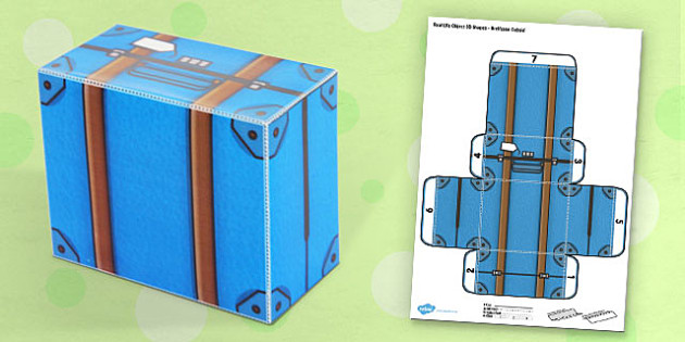 Life Object 3D Shapes Suitcase Cuboid Paper Model - case, craft, crafts
