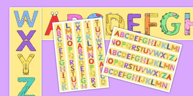 Upper Case Monster Alphabet Display Borders - uppercase, monster, alphabet, display border, display, border