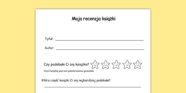 Arkusz Recenzja książki po polsku - język polski, lektury
