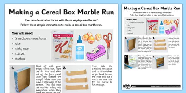 Cereal Box Marble Run - cereal box, marble run, marble, run