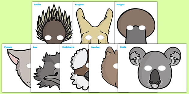 australian animals role play masks australian animals role. Black Bedroom Furniture Sets. Home Design Ideas