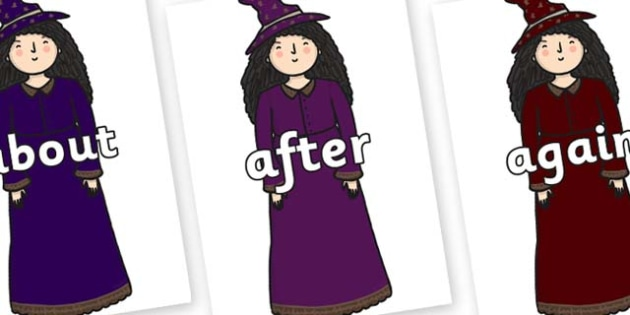 KS1 Keywords on Witches - KS1, CLL, Communication language and literacy, Display, Key words, high frequency words, foundation stage literacy, DfES Letters and Sounds, Letters and Sounds, spelling
