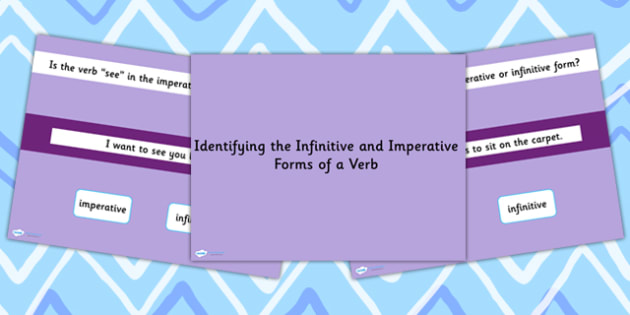 Identifying the Infinitive and Imperative Form of Verb SPaG Quiz