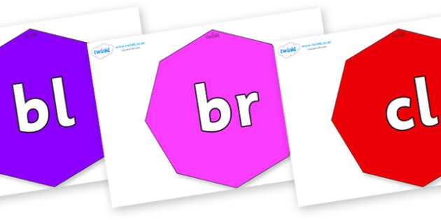 Initial Letter Blends on Octagons - Initial Letters, initial letter, letter blend, letter blends, consonant, consonants, digraph, trigraph, literacy, alphabet, letters, foundation stage literacy