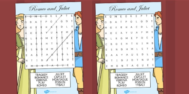 Romeo and Juliet Wordsearch - shakespeare, word search, words