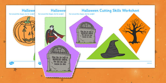Halloween Themed Cutting Skills Worksheet - Halloween, Cutting
