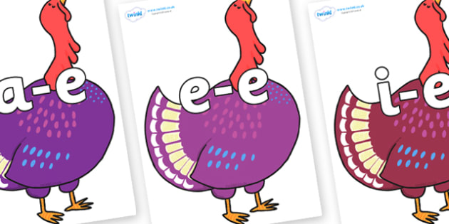 Modifying E Letters on Hullabaloo Turkey to Support Teaching on Farmyard Hullabaloo - Modifying E, letters, modify, Phase 5, Phase five, alternative spellings for phonemes, DfES letters and Sounds