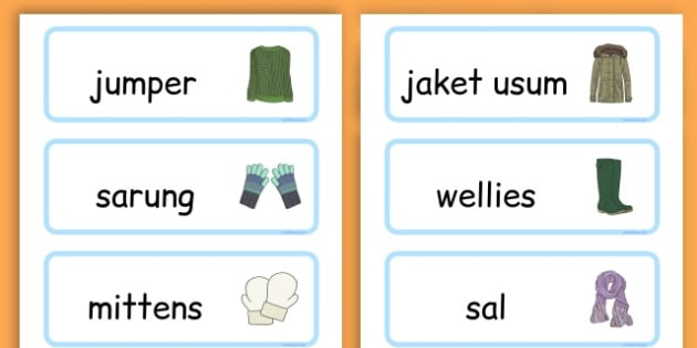 Winter Clothes Word Cards - winter clothes, word cards, winter, clothes - Sudanese