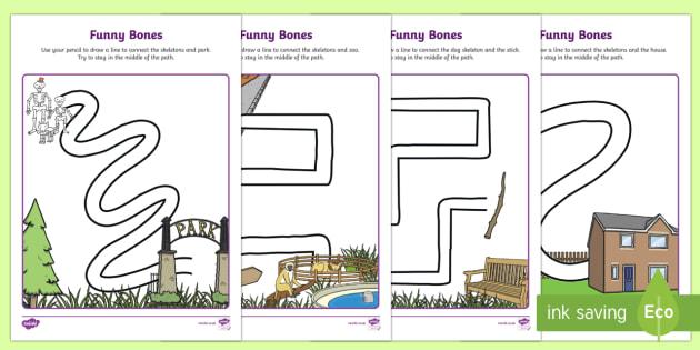 Funny Bones Pencil Control Path Activity Sheets