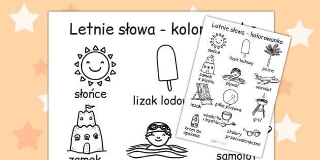 Kolorowanka Lato ze slowami po polsku - przedszkole , Polish