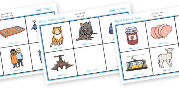Rhyme Matching Game - rhyme, rhyming, matching, match, game