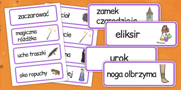Karty ze słownictwem Magia po polsku - magiczny, eliksir, czar