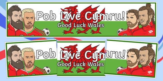Pob Lwc Cymru Display Banner - welsh, cymraeg, pob lwc cymru, good luck wales, football, euro 2016, display banner